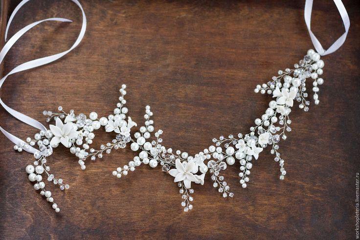 Купить Цветочный венок повязка для свадебной прически - белый, айвори, серебряный, золотой, свадьба, свадебное