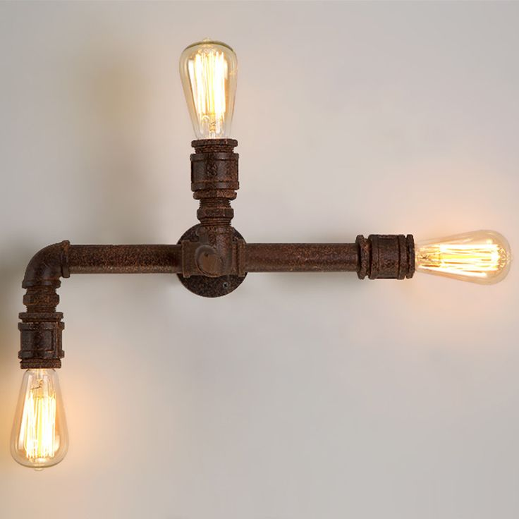 directly from china wall reading light suppliers vintage water pipe wall lamps 3 heads industrial wall sconce arandela loft wall light home lighting - Loftwall
