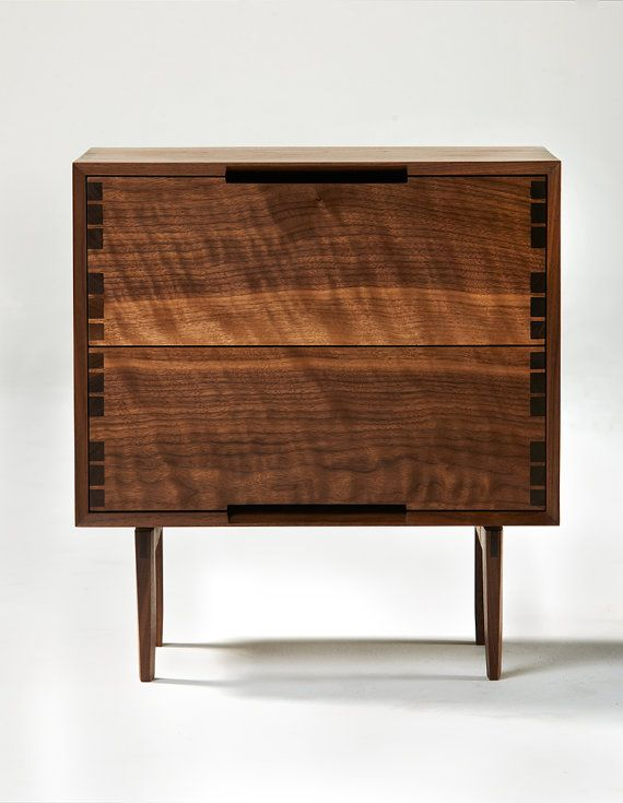 "the beauty of the woodgrain and dovetail joints are the most beautiful ""embellishments"" on this small chest of drawers - Bravo Sukrachand shop on Etsy!!Oil Walnut, Modern Inspiration, Side Tables, Walnut Nightstand, Inspiration Walnut, Night Stands, Robert Sukrachand, Danishes Modern, Danish Modern"