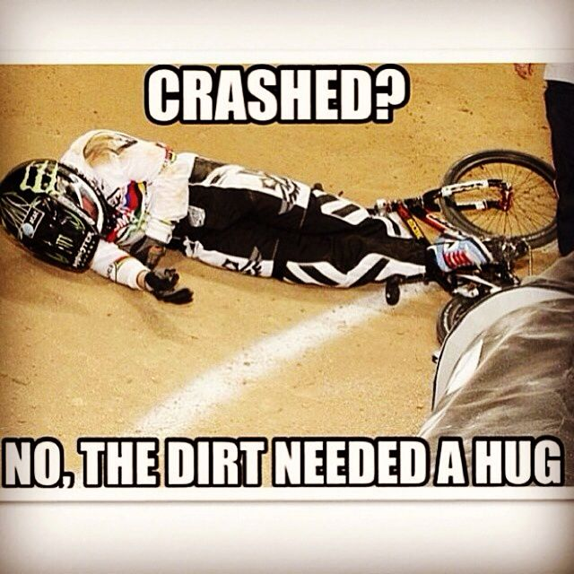 BMX Racing giving dirt a hug. Random Start BMX