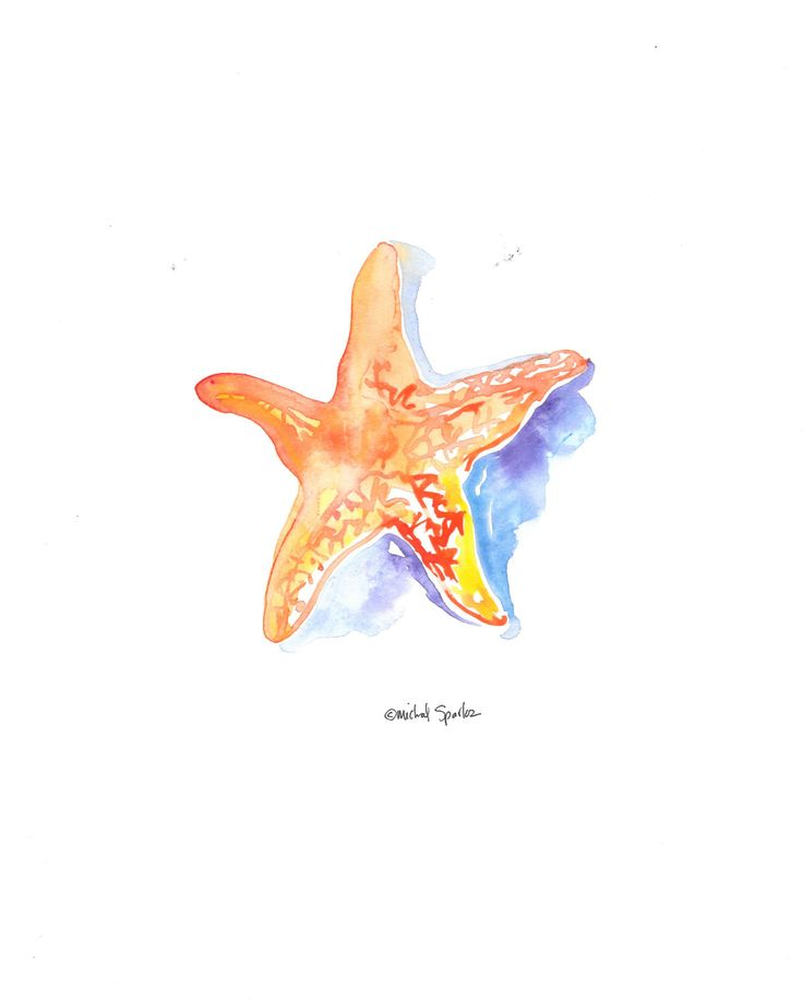 Digital Download Watercolor Art, Starfish Art 8x10 by ACleverSpark on Etsy