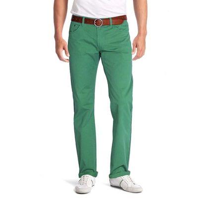 antalon coupe jeans droit NEW PARK coloris vert mode confectionné dans une belle gabardine stretch 98% coton, 2%élasthanne robuste et de qualité supérieure. #pantalon, #vert, #homme, #New-park, #Leguide