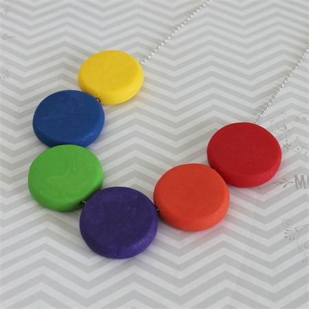 Rainbow disc polymer clay bead necklace | Red Raspberry | madeit.com.au