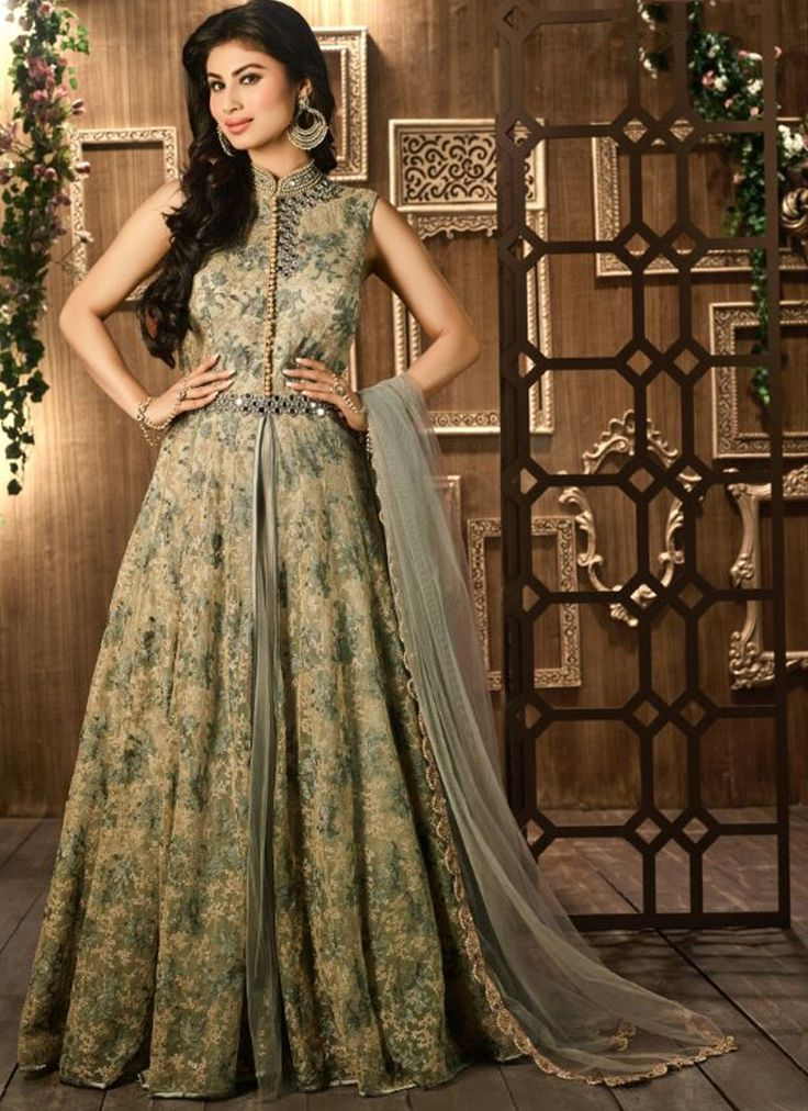 Buy Taupe Net Embroidered Flared Anarkali in UK, USA and Canada through online…