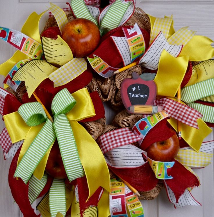 Red Yellow Green Burlap and Mesh Teacher Wreath with Apples and Pencils; School Themed Decor Wreath; Teacher Gift; Apple Ruler Pencil Wreath by ChewsieCreations on Etsy