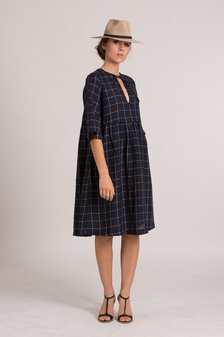 WILLOW DRESS   Navy Check