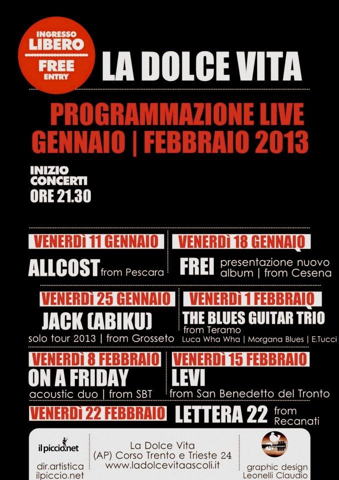 Programmazione musica live gennaio/febbraio del bar LA DOLCE VITA di Ascoli Piceno #ascolipiceno