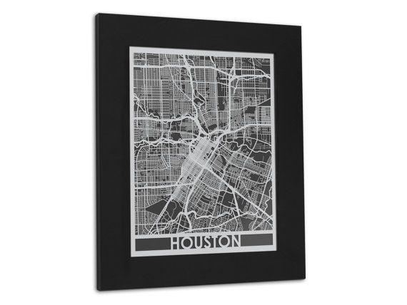 Houston 11x14 Framed Stainless Steel Laser Cut Map