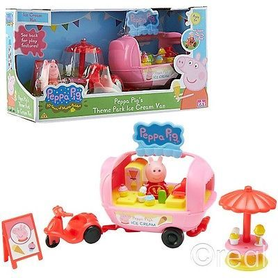 New Peppa Pig Theme Park Ice Cream Van Playset Set With Peppa Figure Official $29.99