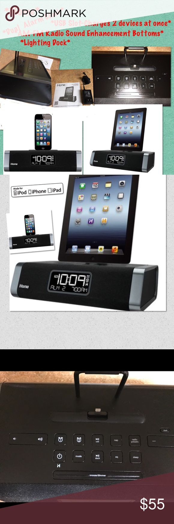 IHome Dual Alarm Clock-Lightening & USB Player iHome iDL45 lightning dock is a dual alarm clock radio(iPad,iPhone iPod)Charge your device wake & sleep to a custom playlist,or radio.Charge & play via flexible Lightning dock(cable not provided).Auto Syncs the clock to your iPhone.iDL45 includes 6 FM presets,EQ controls &3D sound.Reson8 sound technology exceptional.Charge,& play AWARD  WINNING**MINT CONDI.except on 1 side as seen in pic a few minor scratches. Had Apple Remote Holder…