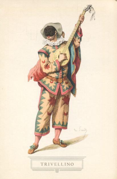 TRIVELLINO E' la maschera gemella di Arlecchino, anche se porta un nome e un costume differenti: non è anzi da escludere che quello sia stato l'antico nome di Arlecchino, giacchè Trivellino significa appunto « uomo con l'abito trivellato ».