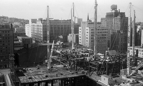 """Article about Montreal's """"underground city"""" - Construction de la Place Ville-Marie, 1960 by Archives de la Ville de Montréal, via Flickr"""