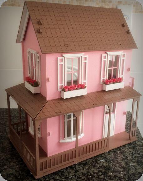 Casa Casinha de boneca MDF pintada Polly