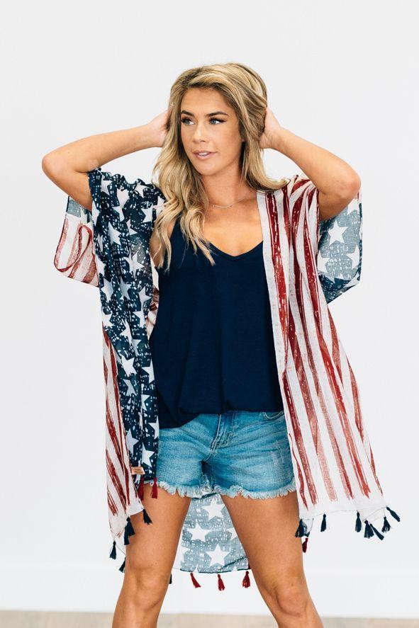 5b7cb5381 Tasseled Flag Kimono Vintage American flag inspired print kimono with  tassel accent! Fourth of july
