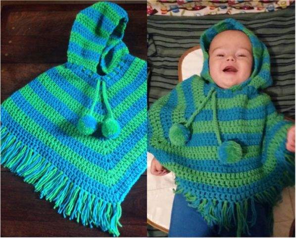 Crochet poncho bebe