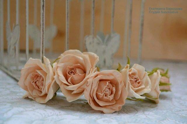 Ободочек с нежными розами.