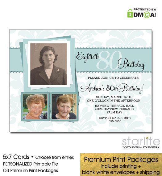 80th Birthday Photo Invitation, Ladies Milestone Birthday Invitation, Sea Blue Green Damask ANY AGE Invite, Printable Invitation, Printed by starwedd on Etsy https://www.etsy.com/listing/101774611/80th-birthday-photo-invitation-ladies