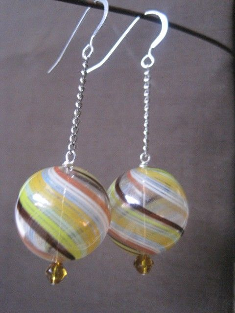 Multicolored Glass Dangling Earrings by TheJadeFrog on Etsy, $15.00