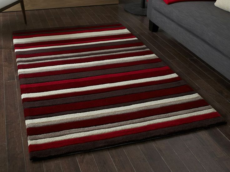 Red Brown & beige stripes modern rug  90 x 150cm (2ft 9″ x 5ft 0″) #HongKong2022Red #Contemporary