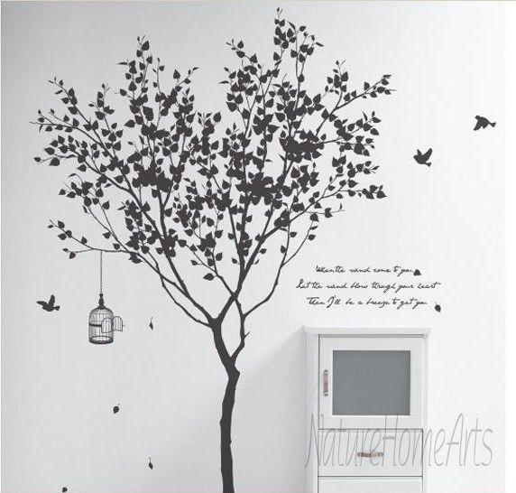 Wandtattoo - SALE!Wandtattoo Wanddekoration - Baum mit Vögeln - ein Designerstück von cake083 bei DaWanda