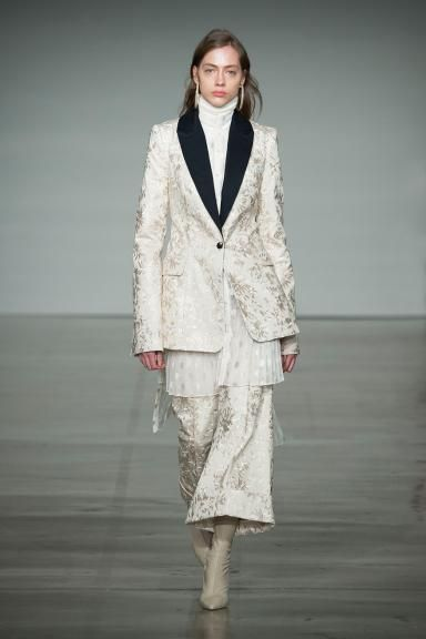 Fall 2017 RTW, The Maples Zimmermann New York Fashion Week NYFW 2017 Australian Fashion designer ready to wear Maples Polo Neck Underpinning, Maples Sportive Dress, Maples Embroidered Jacket, Maples Embroidered Kick Flare,  Stretch Ankle Boot, Thin Enamel Hoop Earring