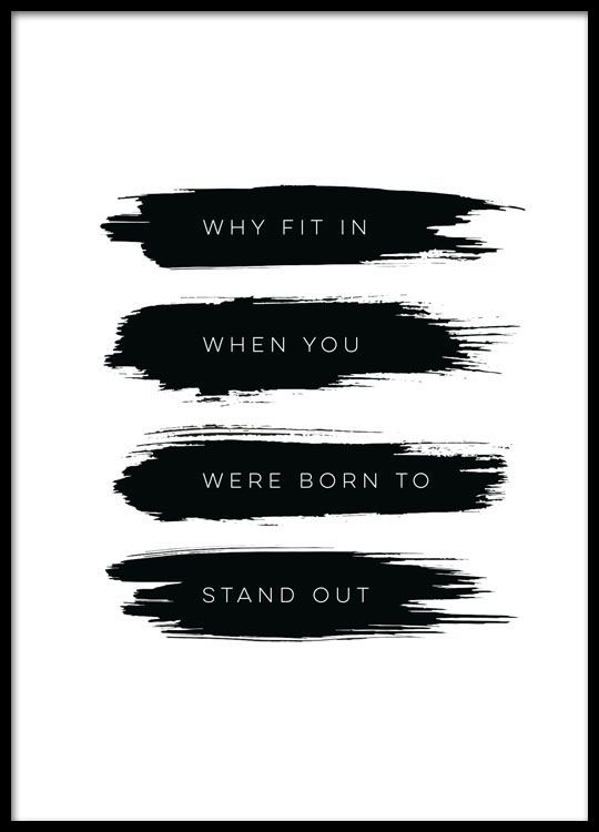 Born to stand out, poster in the group Posters & Prints / Typography & quotes at Desenio AB (8505)