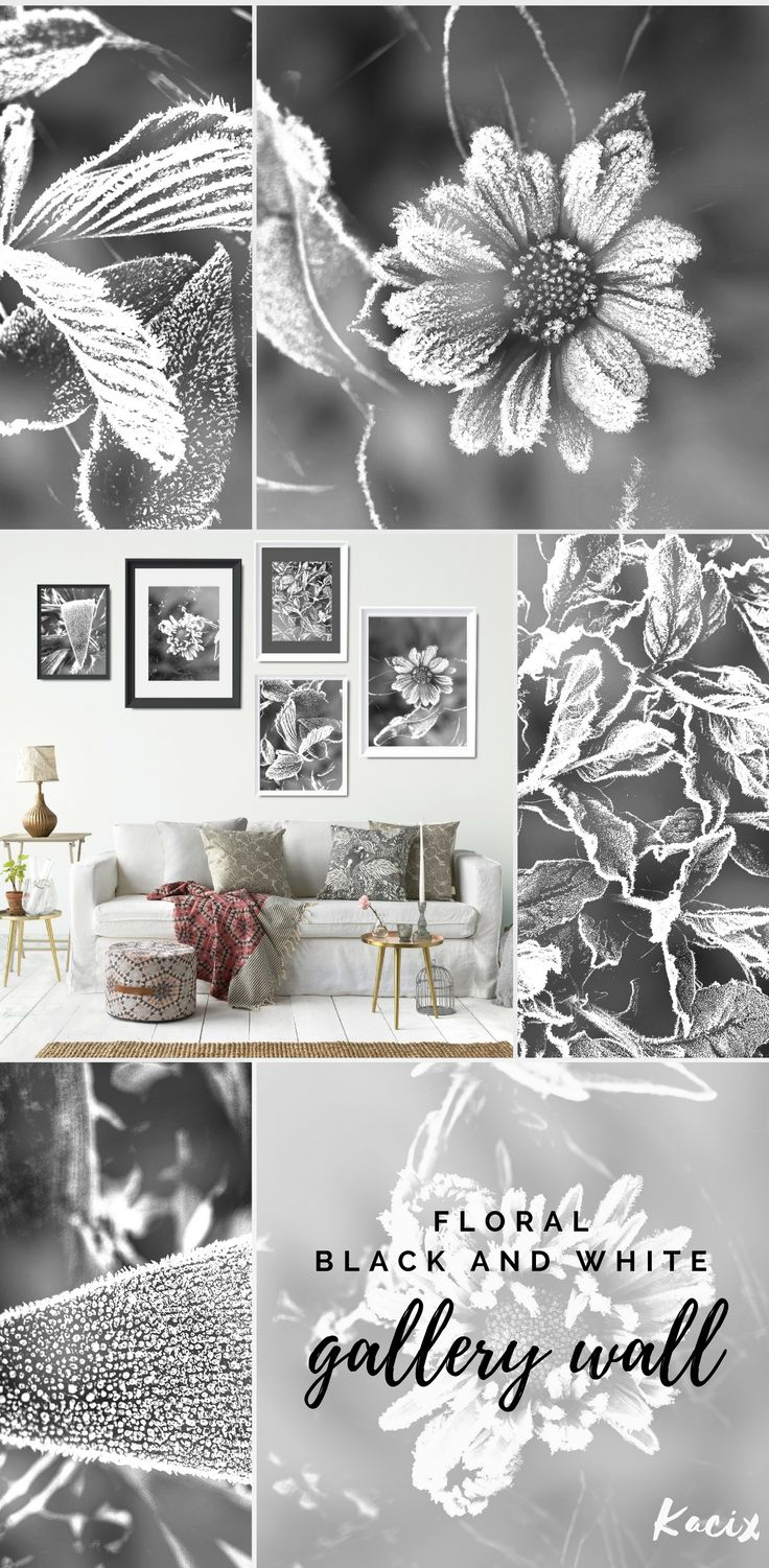 Modern black and white prints set inspired by floral beauty. Bundle of flowers and leaves delicately decorated with frost. Create inspiring gallery wall! #livingroomdecor #blackandwhite #gallerywall #floralprint