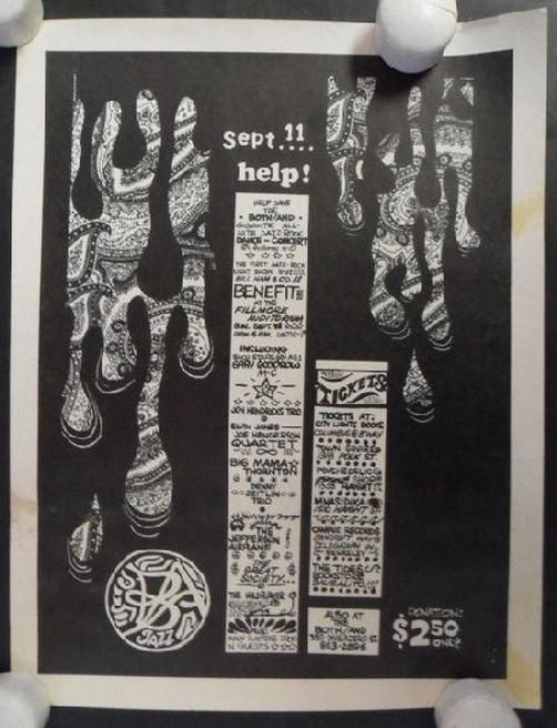 Original concert handbill for Jefferson Airplane, Garry Goodrow, Big Mama Thornton, Great Society, Freddie Hubbard and George Braith and others at The Fillmore in San Fransisco, CA in 1966. This benefit concert featured a line-up of jazz greats that included singer/drummer/lyricist Jon Hendricks, called