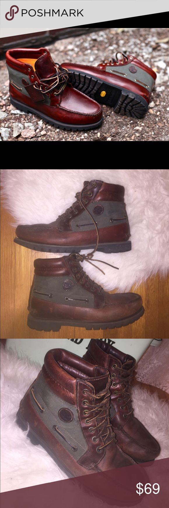 Timberland Genuine Leather Boots Genuine leather Timberland. Gore-Tex Boot. In excellent condition. All seams are perfect. Sole barely worn. Natural wear on the leather. NO TRADES.      Green and tan Timberland Shoes Boots