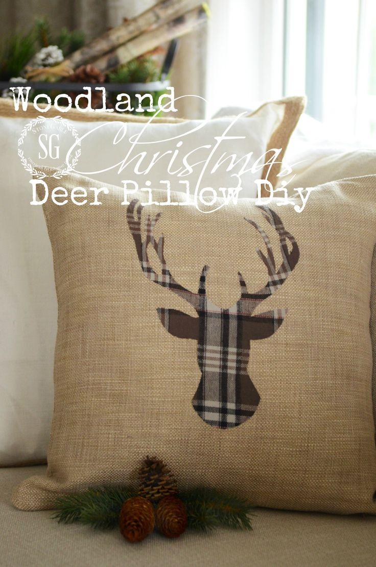 Make a no sew Christmas deer pillow - love the plaid! stonegableblog.com