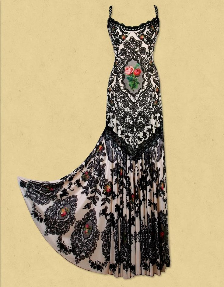Handmade Michal Negrin dress from printed chiffon lycra with lace detailing and swarovski crystals.