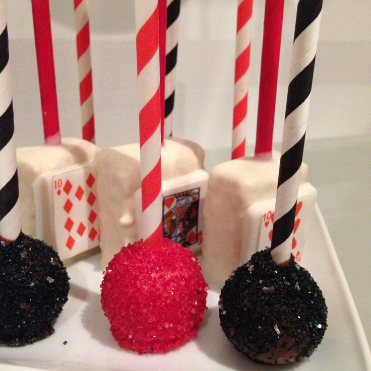 Cake pops - red and black - Vegas theme -