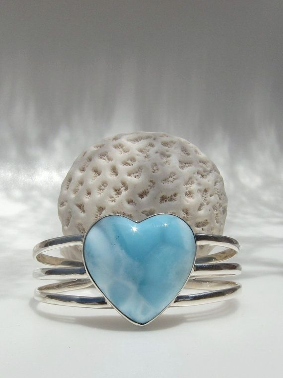 Larimar  silver cuff, Mighty Aphrodite - beautiful foamy soft turquoise Larimar BIG heart