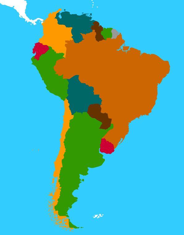 Voor het oefenen van landen in Zuid Amerika