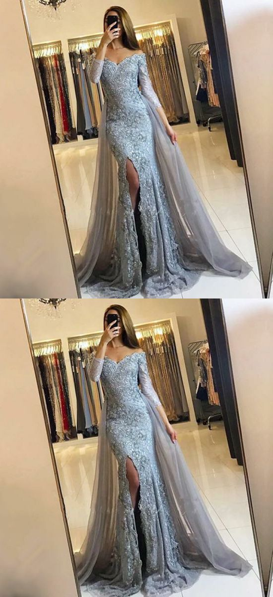 unique grey off the shoulder long prom dresses, elegant evening gowns with appliques, modest mermaid detachable train party dresses