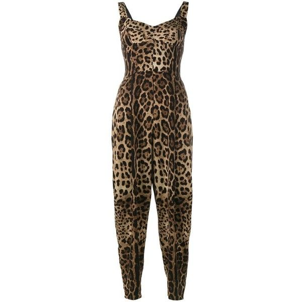 Dolce & Gabbana leopard print jumpsuit (£1,225) ❤ liked on Polyvore featuring jumpsuits, brown, sweetheart neckline jumpsuit, leopard print jumpsuits, leopard jumpsuit, brown jumpsuit and cropped jumpsuit