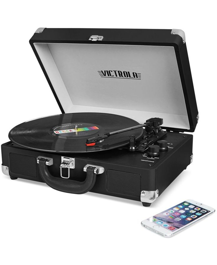 Take a world of music with you with the Victrola from Innovative Technologies, built with a turntable and Bluetooth connectivity, all in a sleek portable suitcase design. | Plastic/metal | Wipe clean