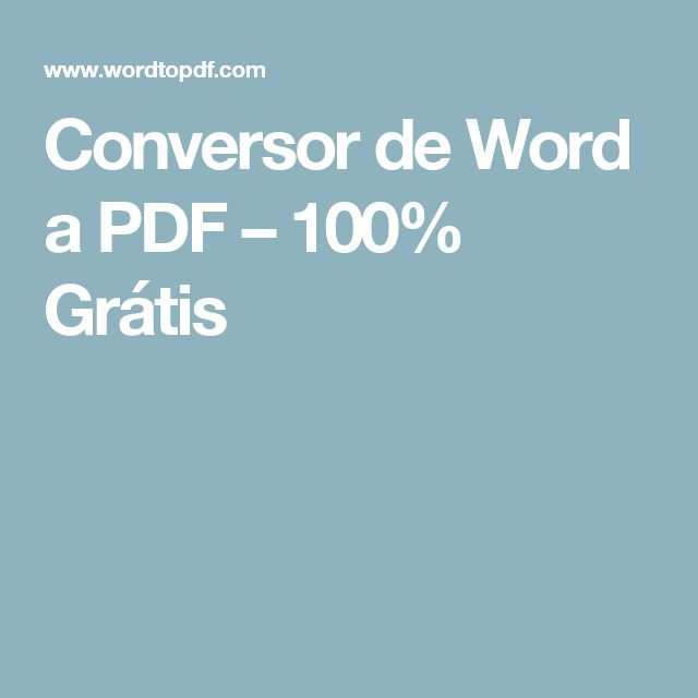 Conversor de Word a PDF – 100% Grátis