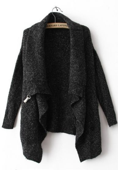 Black Lapel Long Sleeve Ouch Cardigan Sweater : WINTER