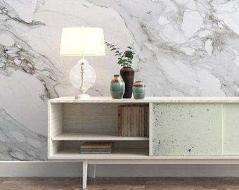 Carrara, Marmor, Tapete, Luxus, Abnehmbar, Schäle und klebe, Selbstklebend, Temporär, Wandbild, Stoff, Wiederverwendbar, Kunst - SKU:Marble