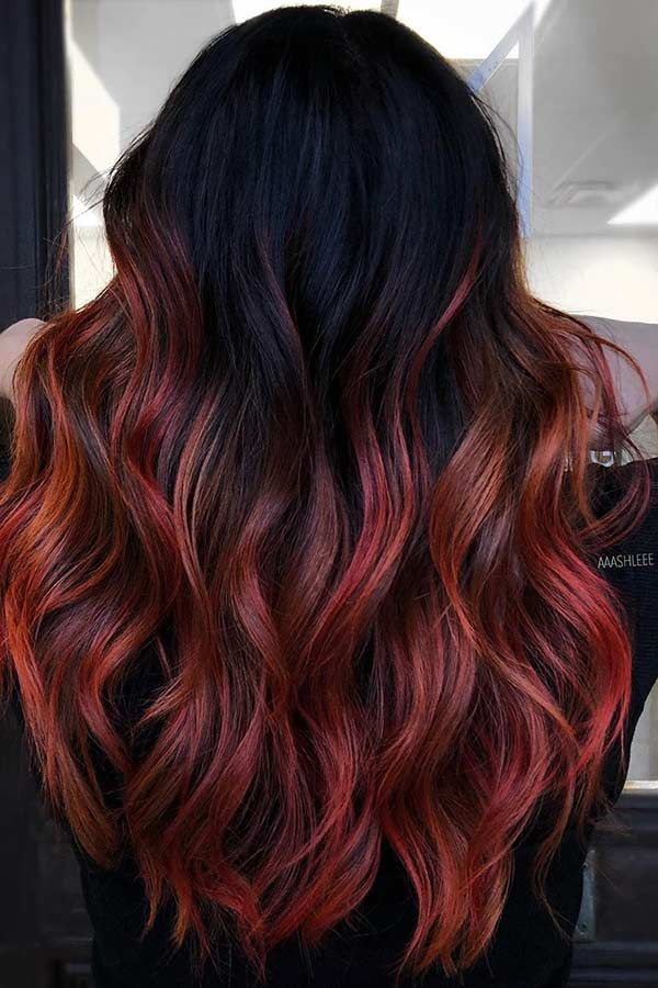 23 Ways To Rock Black Hair With Red Highlights Page 2 Of 2 Stayglam Black Red Hair Black Hair With Red Highlights Black Hair With Highlights