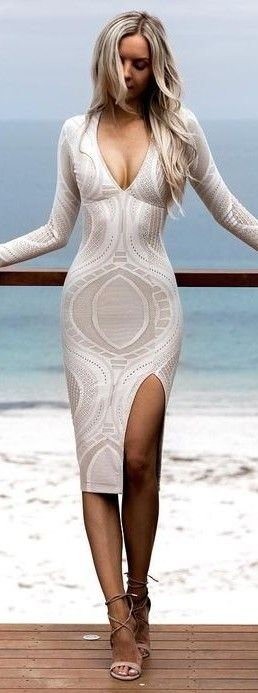 #summer #warmweather #outfitideas    Delicate Lace Bodycon Dress