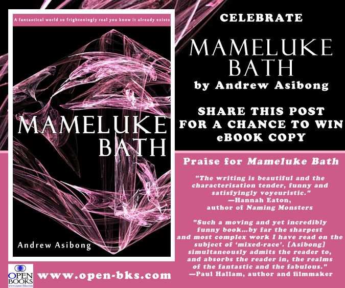 Happy publication day to Andrew Asibong! His debut novel MAMELUKE BATH is now available. To celebrate, Open Books is giving away one free eBook copy. To enter for a chance to win, just share this image by Monday, 30 September, and you may be chosen to receive a free eBook copy of the novel.  Learn more about the novel and read an excerpt at http://www.open-bks.com/library/moderns/mameluke-bath/about-book.html