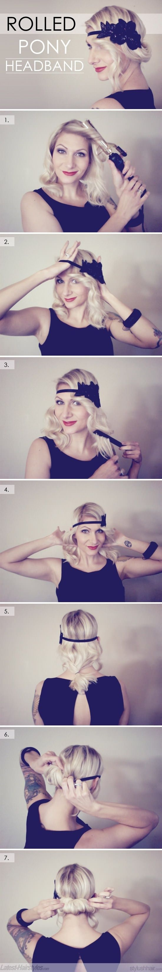 DIY Rolled Ponytail Headband: would make a cute every day look with a head band colored to match your hair... Or great for a costume.
