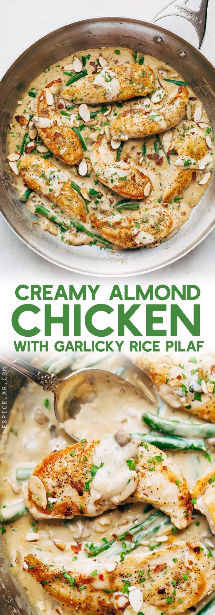 Creamy Almond Chicken with Rice Pilaf - seared chicken tenders in homemade cream sauce, sooo good!