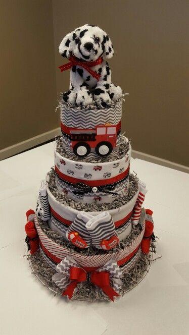 Quot Little Hero Quot Firetruck Theme Diaper Cake It S A Boy