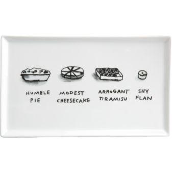 serving tray: Cb2, Humble Pie, Dan Golden, Arrogant Tiramisu, Feet, Design, Pie Platter
