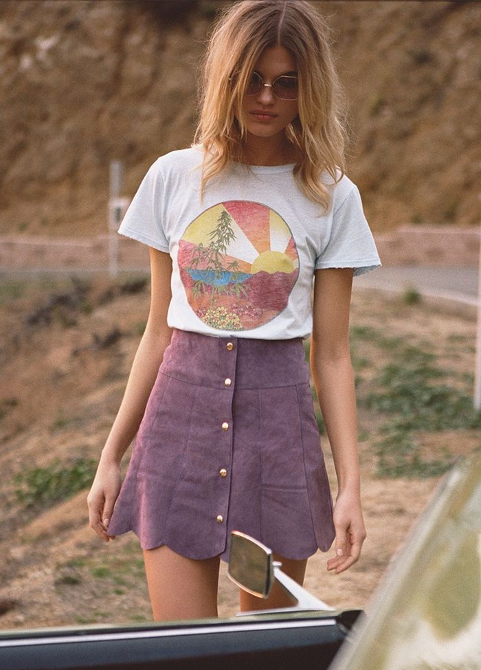 Tee and button-front skirt