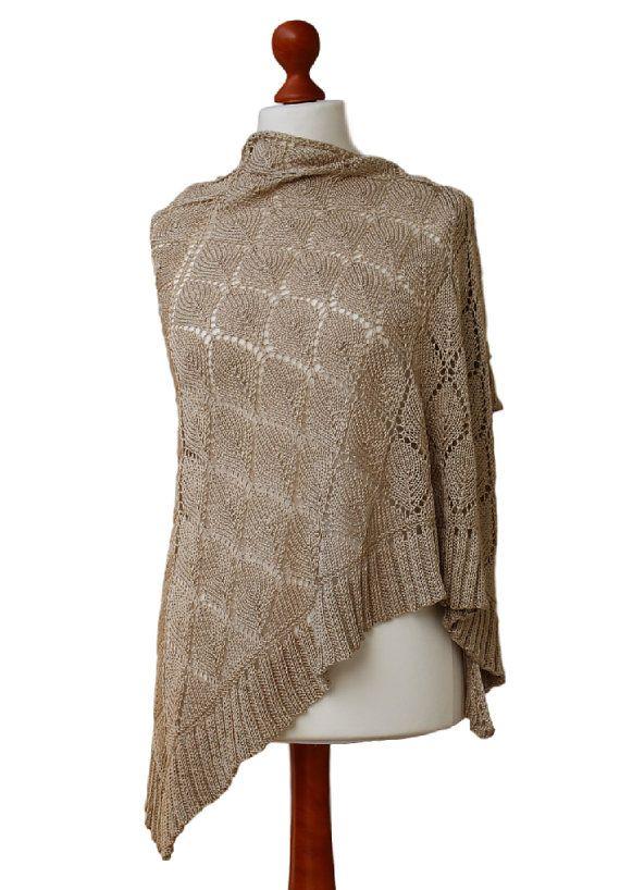 light beige knit shawl wedding shawl cotton viscose by OlaKnits