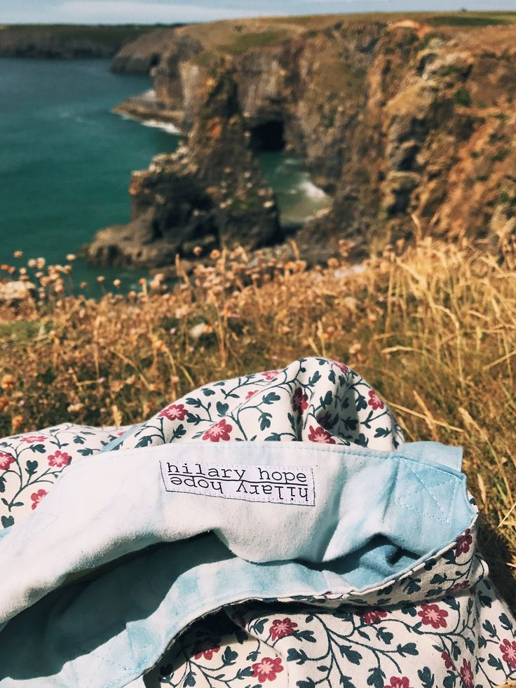 Hilary Hope reversible tote bag all the way in Wales at Barafundle Bay photo: @kimmexplores